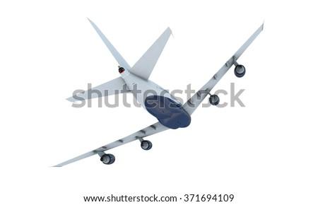 White plane flying. airplane boeing 747 isolate on white background - stock photo