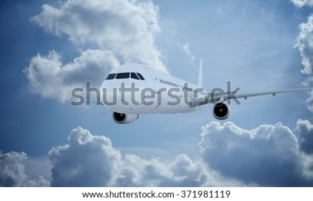 White plane flying in sky and clouds. Passenger airplane airbus a321.
