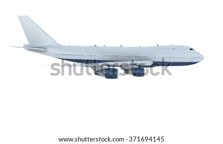 White plane flying. jumbo jet passenger  boeing 747 isolate on white background - stock photo