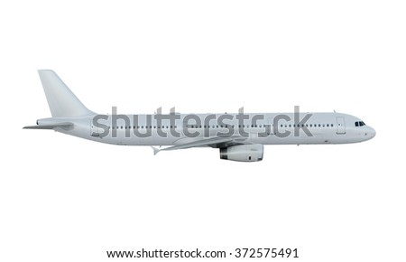 White plane flying. passenger airplane airbus a321 isolate on white background. - stock photo