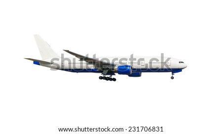white plane takes off isolated on white background