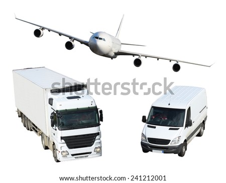 White plane, van and truck isolated on white background - stock photo