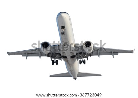 White plane with landing gear isolated on white background - stock photo
