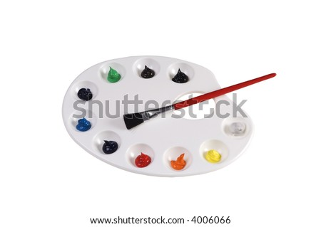 White plastic artist pallette with oil paints ready to use in bright colors isolated on white background