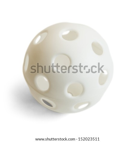 White Plastic Ball with Holes Isolated on White Background.