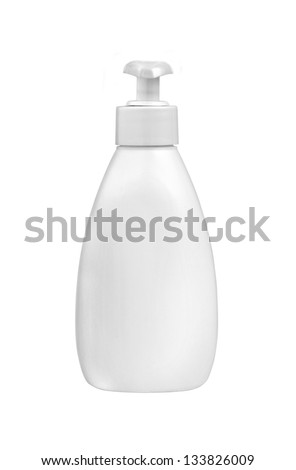 White plastic bottle for liquid soap with dispenser pump - stock photo