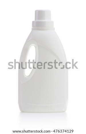white plastic bottle isolated on a white background for liquid laundry detergent or cleaning agent or bleach or fabric softener