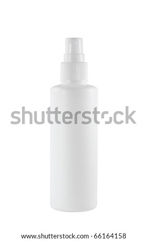 White plastic bottle isolated on white - stock photo