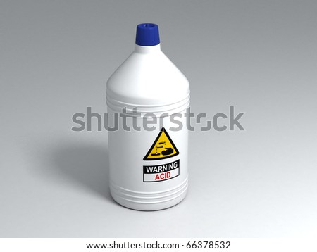 White Plastic Bottle of Acid - stock photo