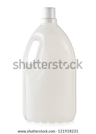 White plastic bottle of detergent washing machine liquid - stock photo
