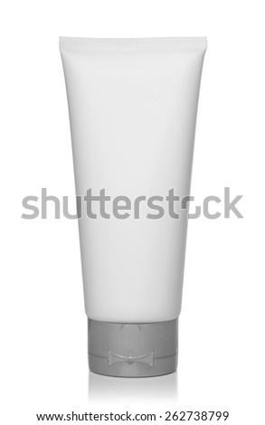 White plastic bottle of shampoo, conditioner, hair rinse, gel, on a white background.