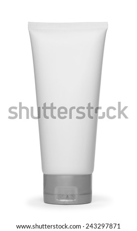 White plastic bottle of shampoo, conditioner, hair rinse, gel, on a white background with reflection. - stock photo