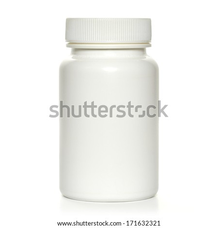 White plastic bottle with clipping path - stock photo