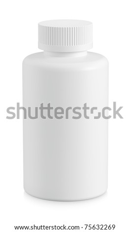 White plastic bottle with copy space isolated on white background - stock photo