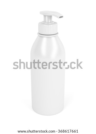 White plastic bottle with pump, used for liquid soap, shampoo and etc. - stock photo