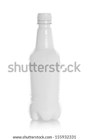 white plastic bottles for drinking water Product isolated on white background - stock photo