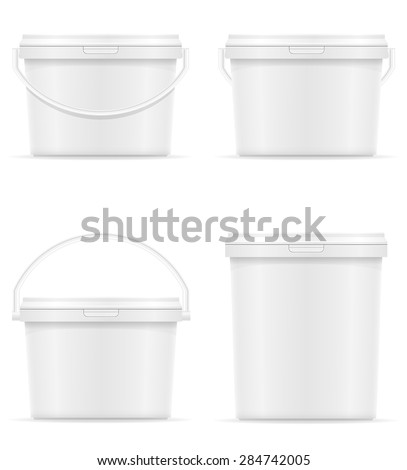 white plastic bucket for paint illustration isolated on background - stock photo