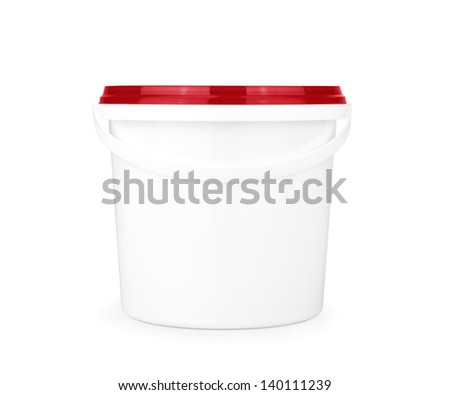 White plastic bucket with lid  on a white background.