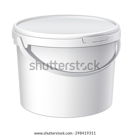 White plastic bucket with White lid. Product Packaging For food, foodstuff or paints, adhesives, sealants, primers, putty. - stock photo