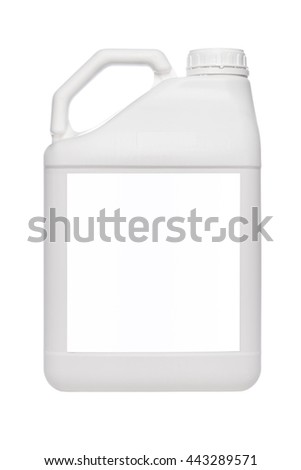 white plastic canister  isolated on white background - stock photo
