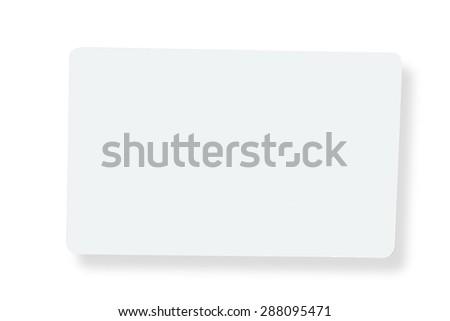 White plastic card isolated on white background - stock photo
