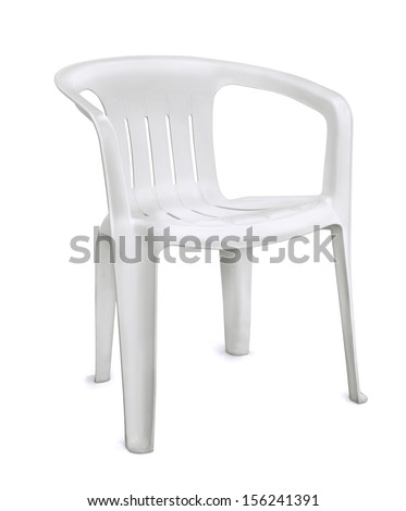 White plastic chair isolated on white - stock photo