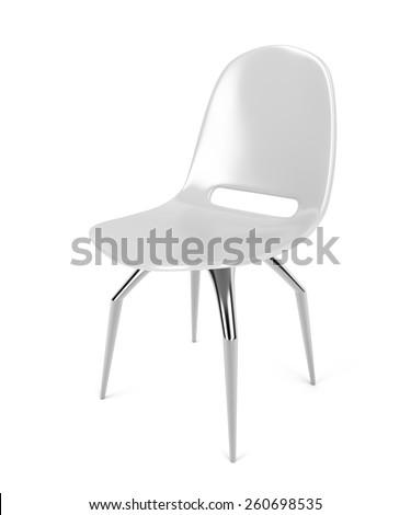 White plastic chair on white background - stock photo