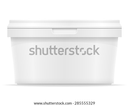 white plastic container for ice cream or dessert illustration isolated on background
