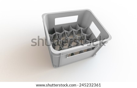 White plastic crate box isolated on white