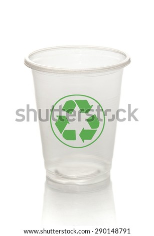 white plastic cup and recycle symbol on the white background