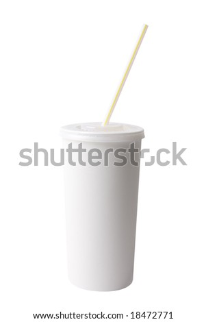 White plastic cup and straw isolated on white with clipping path - stock photo