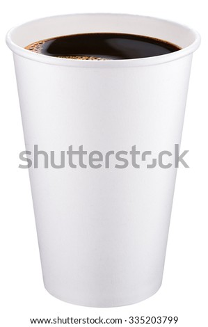 White plastic cup of coffee. File contains clipping paths. - stock photo