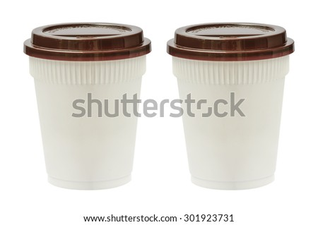 White plastic cups for hot drink,isolated on white background. - stock photo