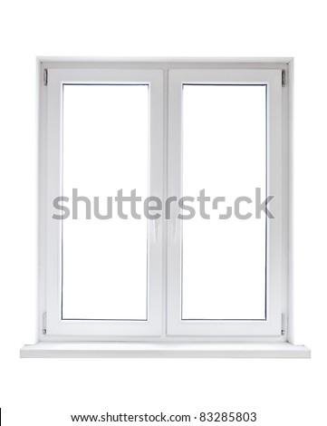 White plastic double door window isolated on white background - stock photo