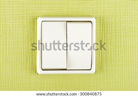 White plastic double electricity switch on the green wall - stock photo
