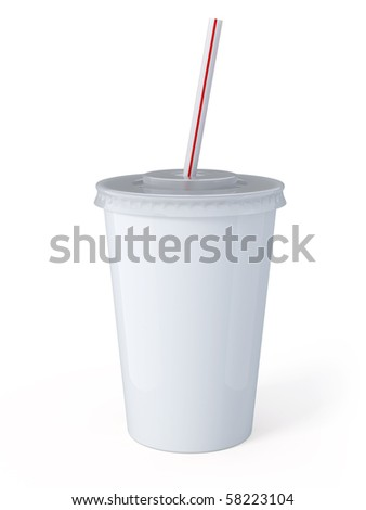 White plastic fastfood cup - stock photo