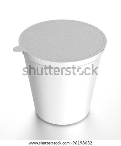 White plastic food containe - stock photo