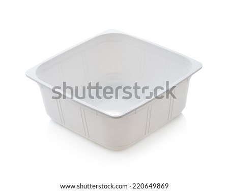 white plastic food container isolated on white background - stock photo