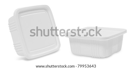 white plastic food container. isolated over white background (2 view) - stock photo