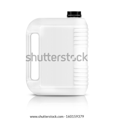 White plastic gallon, jerry can  isolated on a white background.  (with clipping work path) - stock photo
