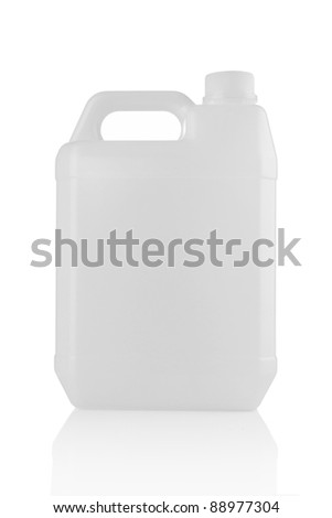 White plastic jerry can is isolated on a white background - stock photo