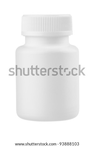 White plastic medical container for pills isolated on white - stock photo