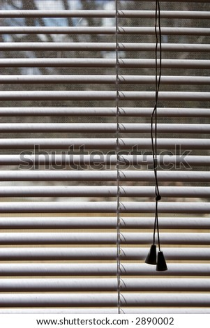 white plastic shades from the inside - stock photo