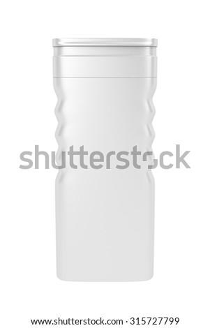 White plastic shampoo bottle isolated on white - stock photo