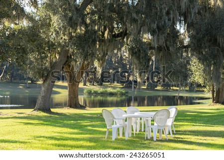 White plastic table and chairs outside in a garden on green lawn by a pond or lake in the afternoon sun and a peaceful relaxing serene tranquil setting - stock photo