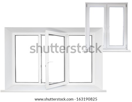 White plastic triple door window with double door in chain - stock photo