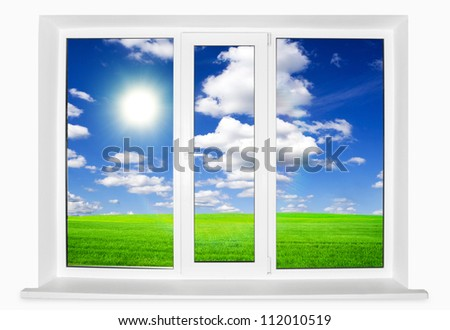 White plastic window and field on white background - stock photo