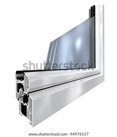 white plastic window cut out, 3d render isolated on white - stock photo