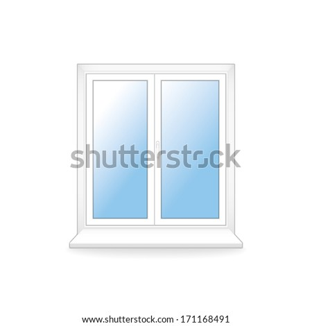 white plastic window.  template.(rasterized version) - stock photo