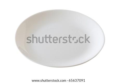 white plate - stock photo